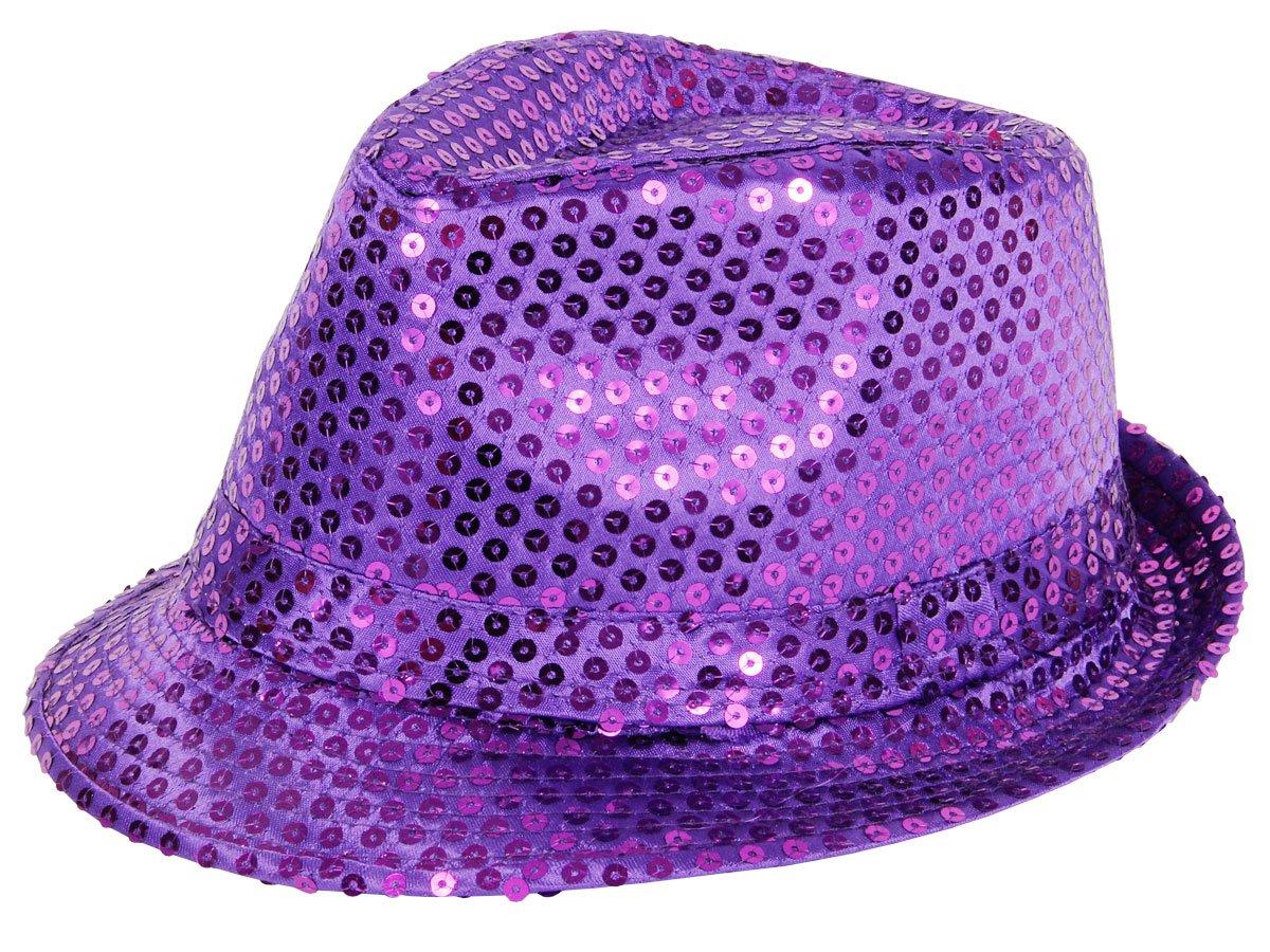 'Chapeau de style trilby pailleté Idéal en complément d''un déguisement dans le cadre d''une soirée à thème, choisir la couleur:TH-56 noir' Alsino