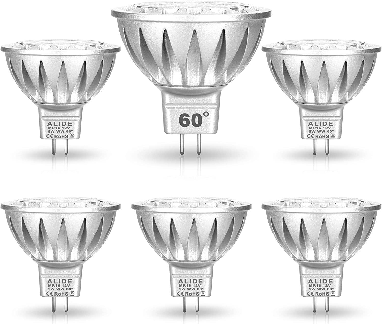 ALIDE MR16 Led Bulbs 60° (60 Degree)Wide Beam Angle,5W Replace 20W 35W Halogen,2700K Soft Warm White,Low Voltage 12volt MR16 GU5.3 Bulb Spotlights for Track Recessed Landscape Lighting,450lm,6 Pack