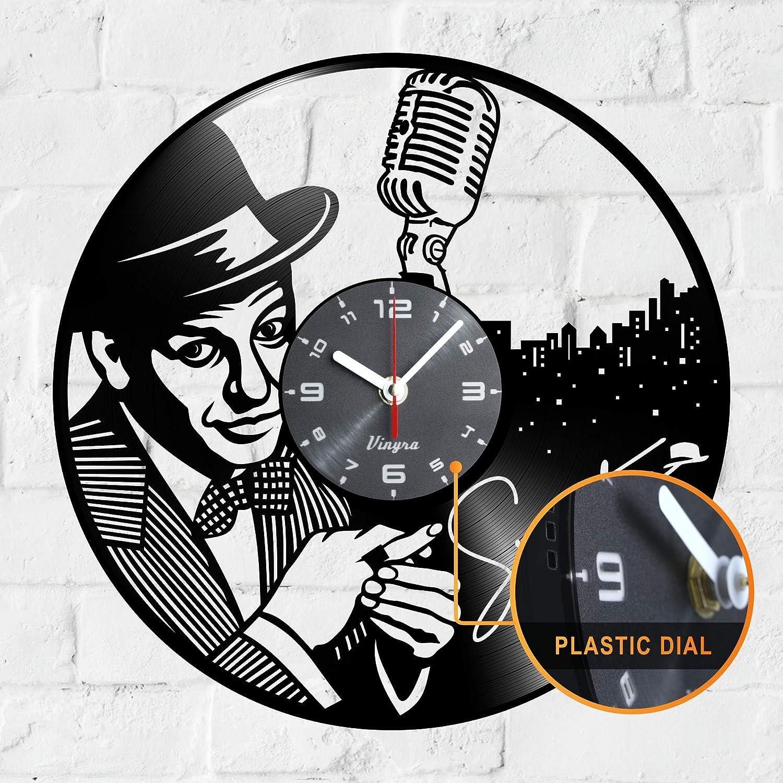 "Vinyra Vinyl Wall Clock Compatible with Jazz Singer Frank Sinatra Vintage Themed Decorations Home - Gift Set Idea for Retro Music Lovers, Men, Women, Dad Room Wall Art Decor 12"" LP Record Clock Black"