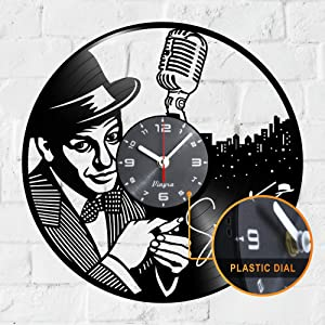 "Vinyra Vinyl Wall Clock Compatible with Jazz Singer Frank Sinatra Vintage Themed Decorations Home - Gift Set Idea for Retro Music Lovers, Men, Women, Dad Room Wall Art Decor 12"" LP Record Clock Black"