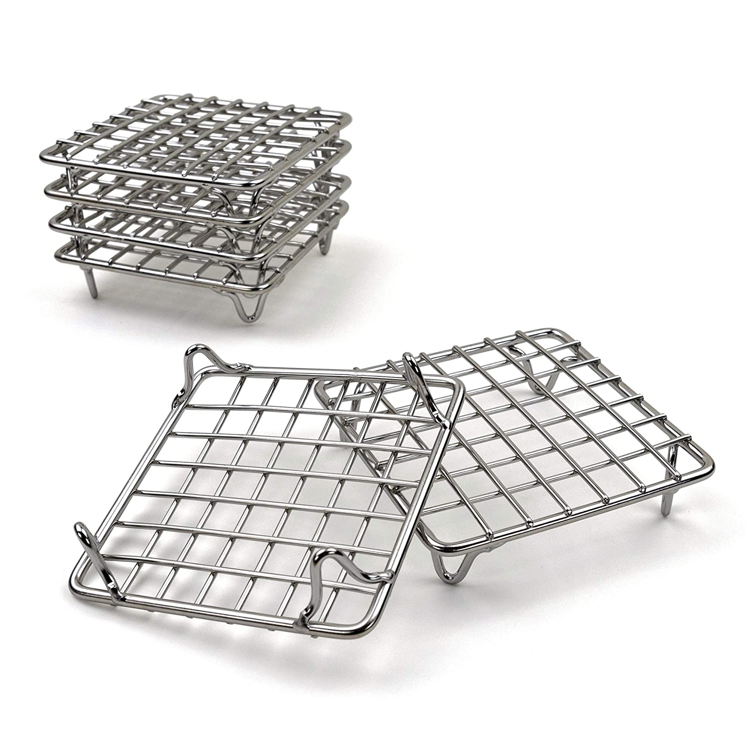"""2lbDepot 4"""" Cooling Baking Rack, Set of 6 Stainless Steel Wire Racks for Baking Cookies Cakes - Metal Trivet Stand for Cooking with Pots, Pans, Hot Dishes"""