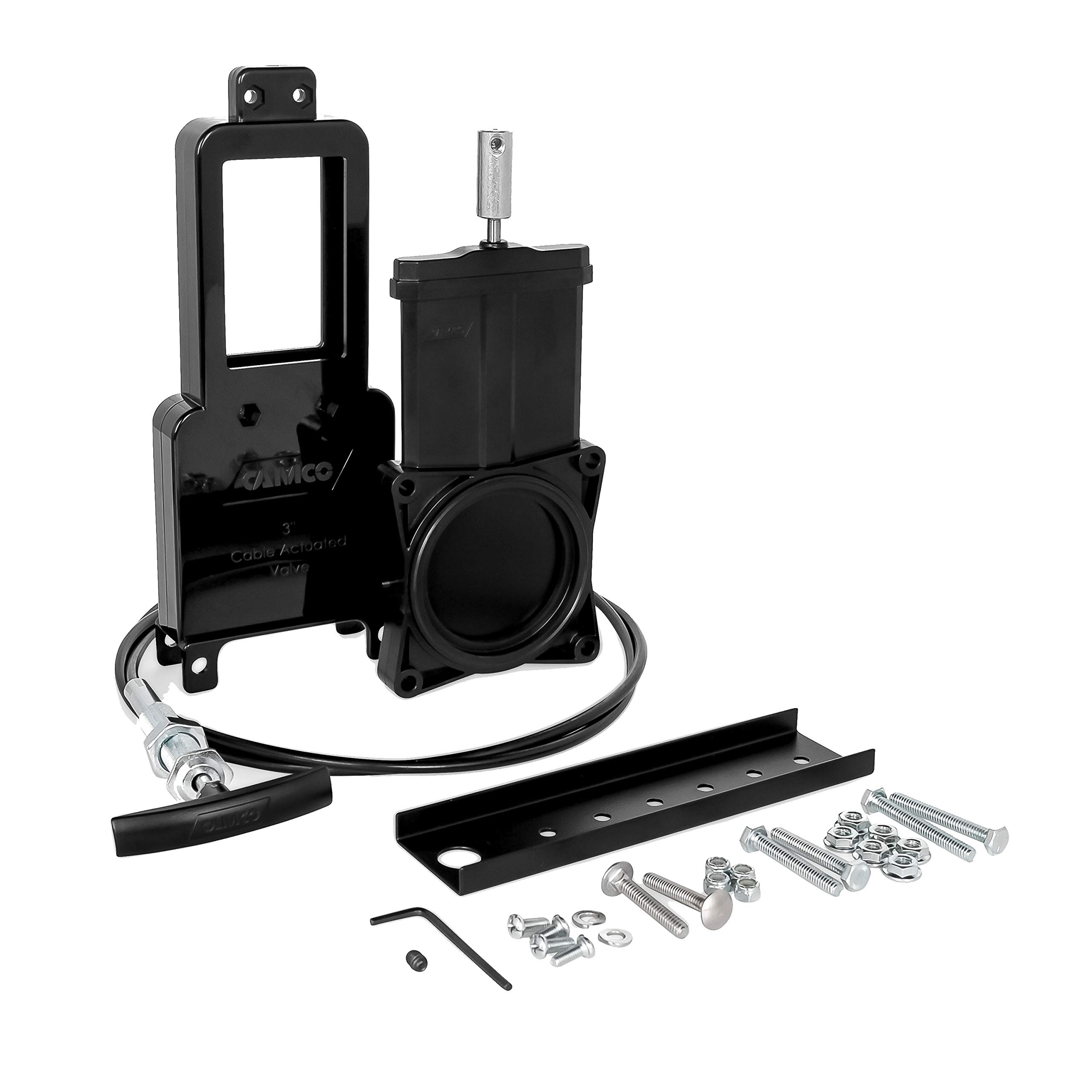 Camco Waste Valve Kit for RV Sewer Systems - Includes 3'' Sewer Valve with Metal Handle and 72'' Extension Cord, Installation Hardware Included - (39519) by Camco