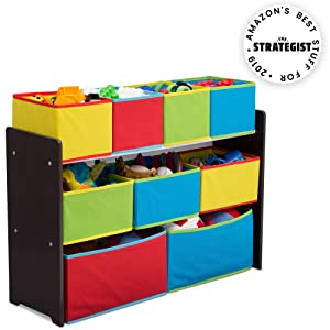 Delta Children Deluxe Multi-Bin Toy Organizer with Storage Bins, Dark Chocolate/Primary
