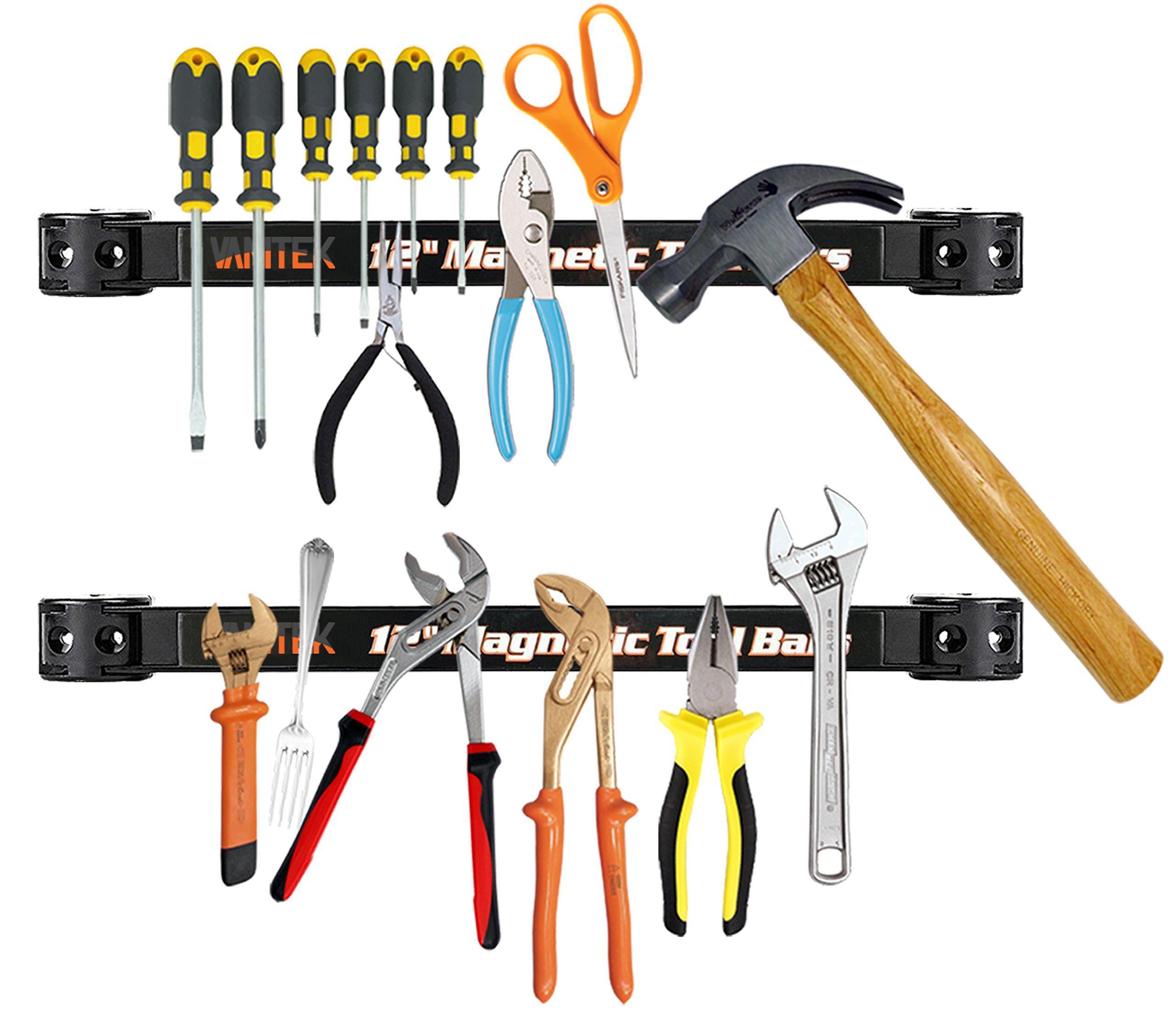 Vanitek 4 Heavy-Duty 12'' Magnetic Tool Holder Racks | Super Strong Metal Magnet Storage Tool Organizer Bars Set | Great for Garage/Workshops (Mounting Screws Included) by Vanitek (Image #2)