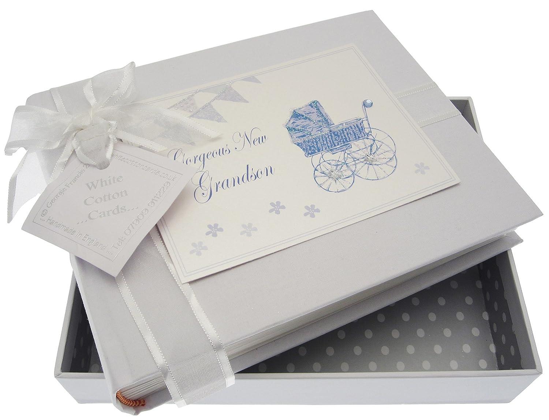White Cotton Cards New Grandson Small Album (Blue Pram and Bunting) PR4S