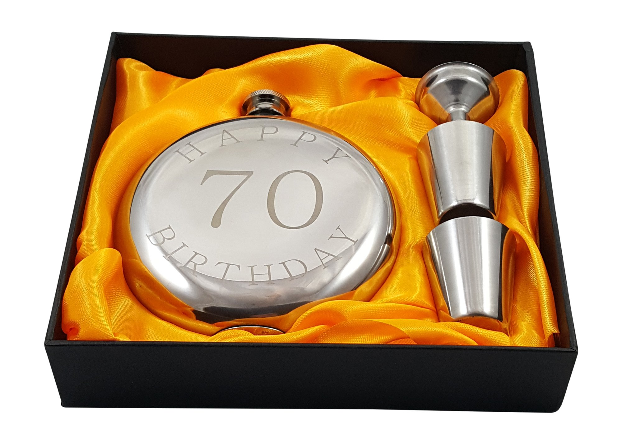 Palm City Products Happy 70th Birthday Flask Gift Set by Palm City Products (Image #1)