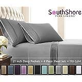 Southshore Fine Linens® - 4 Piece - Extra Deep Pocket Pleated Sheet Set , QUEEN , STEEL GRAY