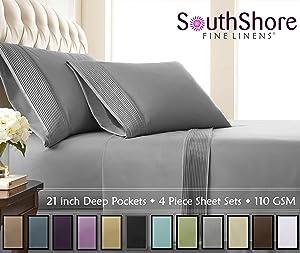 Southshore Fine Linens- 4 Piece - Extra Deep Pocket Pleated Sheet Set, Queen, Steel Gray