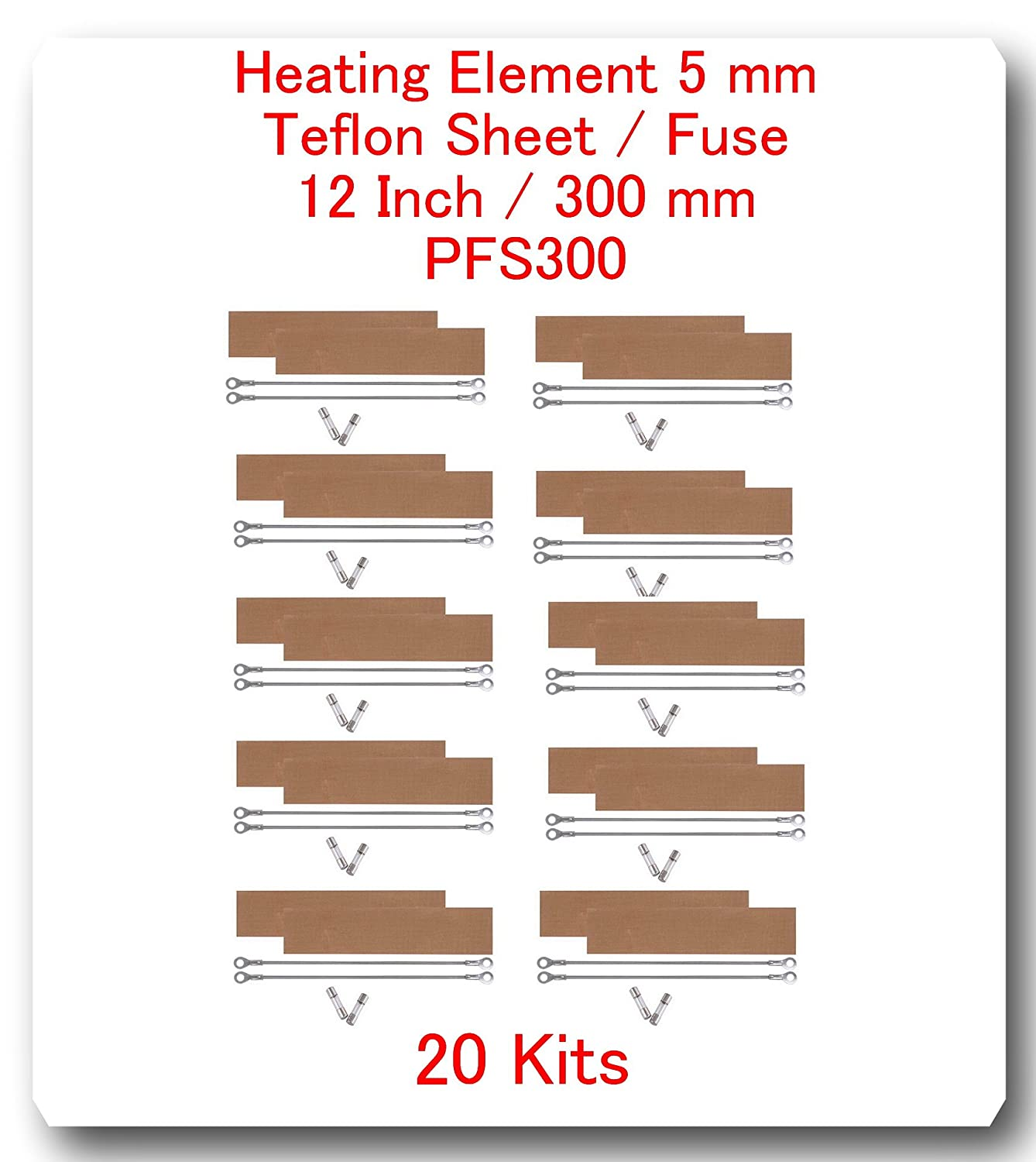 (20 Kits) Replacement Elements for Impulse Sealer PFS-300 12