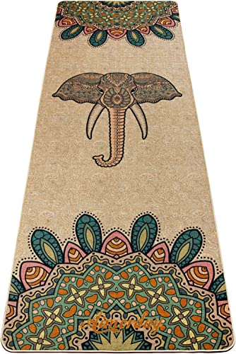 AIMERDAY Jute Yoga Mat Thick Non Slip Eco-Friendly 72 inch Extra Long Natural Organic Rubber Exercise Fitness Floor Mats with Free Carry Strap for Pilates, Hot Yoga, Bikram, Workout