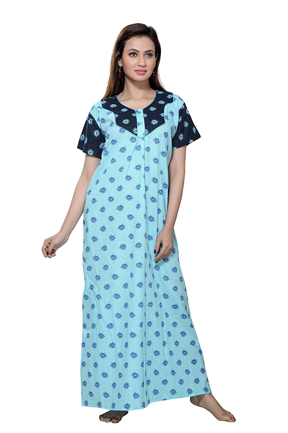 9b39a2cb3c TUCUTE Women Cotton Premium Nighty/Nightwear/Nightdress/Night Gown with  Beautiful Floral Design. (Light Blue 1614): Amazon.in: Clothing &  Accessories