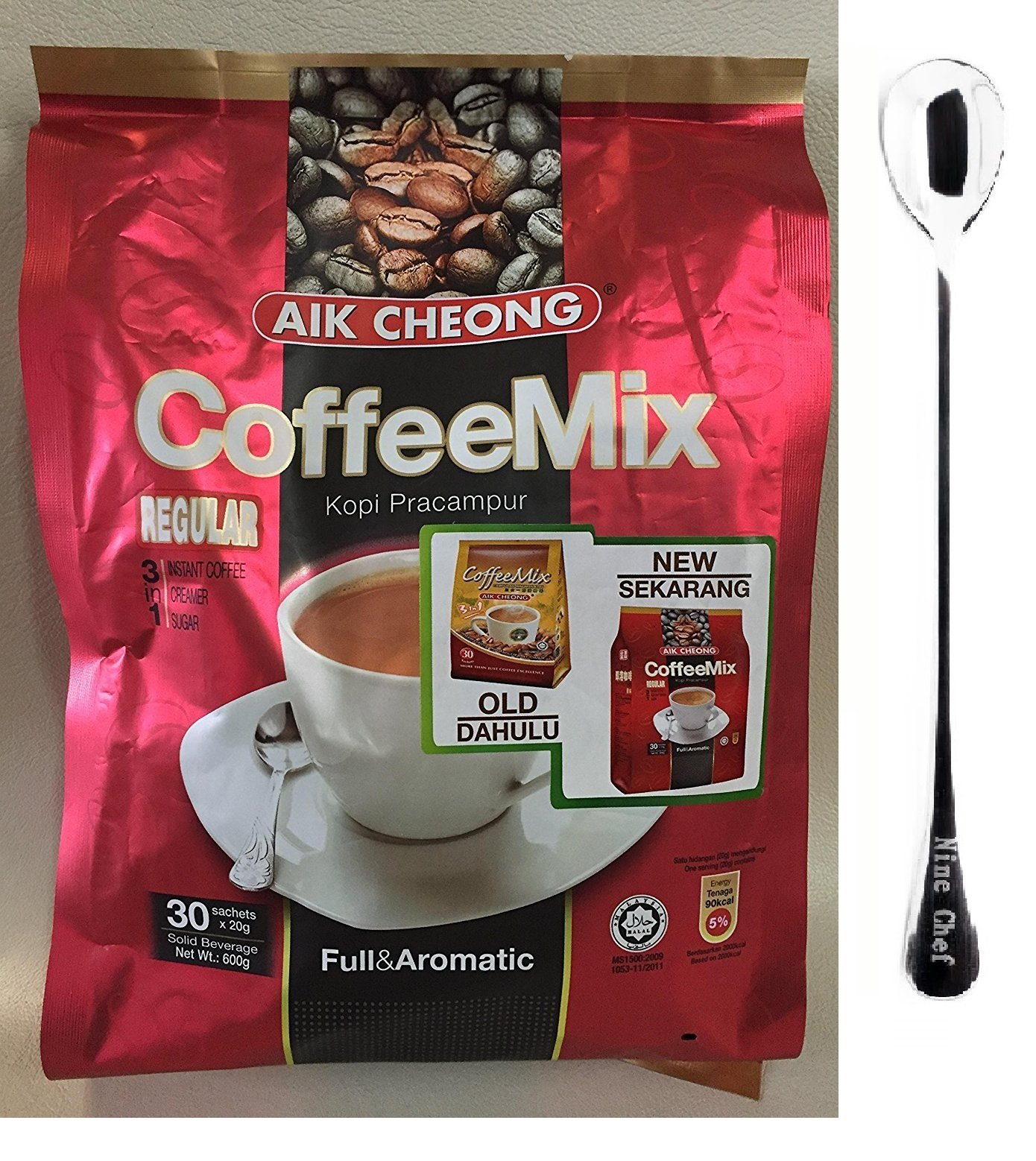 Aik Cheong Regular Instant 3in1 Coffee Mix Kopi Pracampur (10 Pack)+ one NineChef Spoon by NineChef