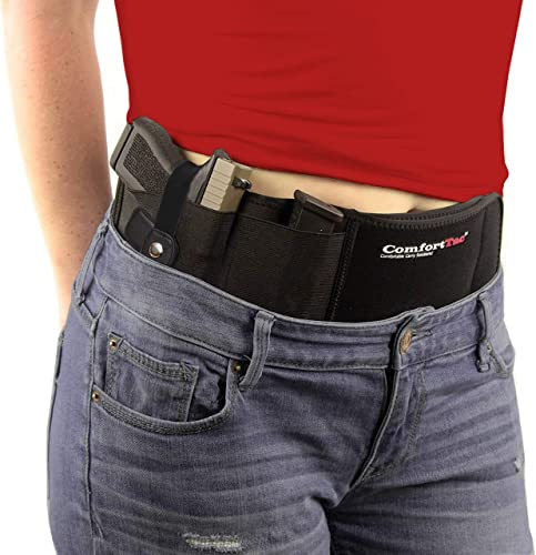 ComfortTac Ultimate Belly Band Holster for Concealed Carry | Compatible with Gun Smith and Wesson Bodyguard, Shield, Glock 19, 17, 42, 43, P238, Ruger LCP,...