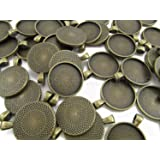 """20 CleverDelights Round Pendant Trays - Antique Bronze Color - 25mm 1"""" Diameter - Pendant Blanks Cameo Bezel Cabochon Settings - 25 mm 1 Inch"""