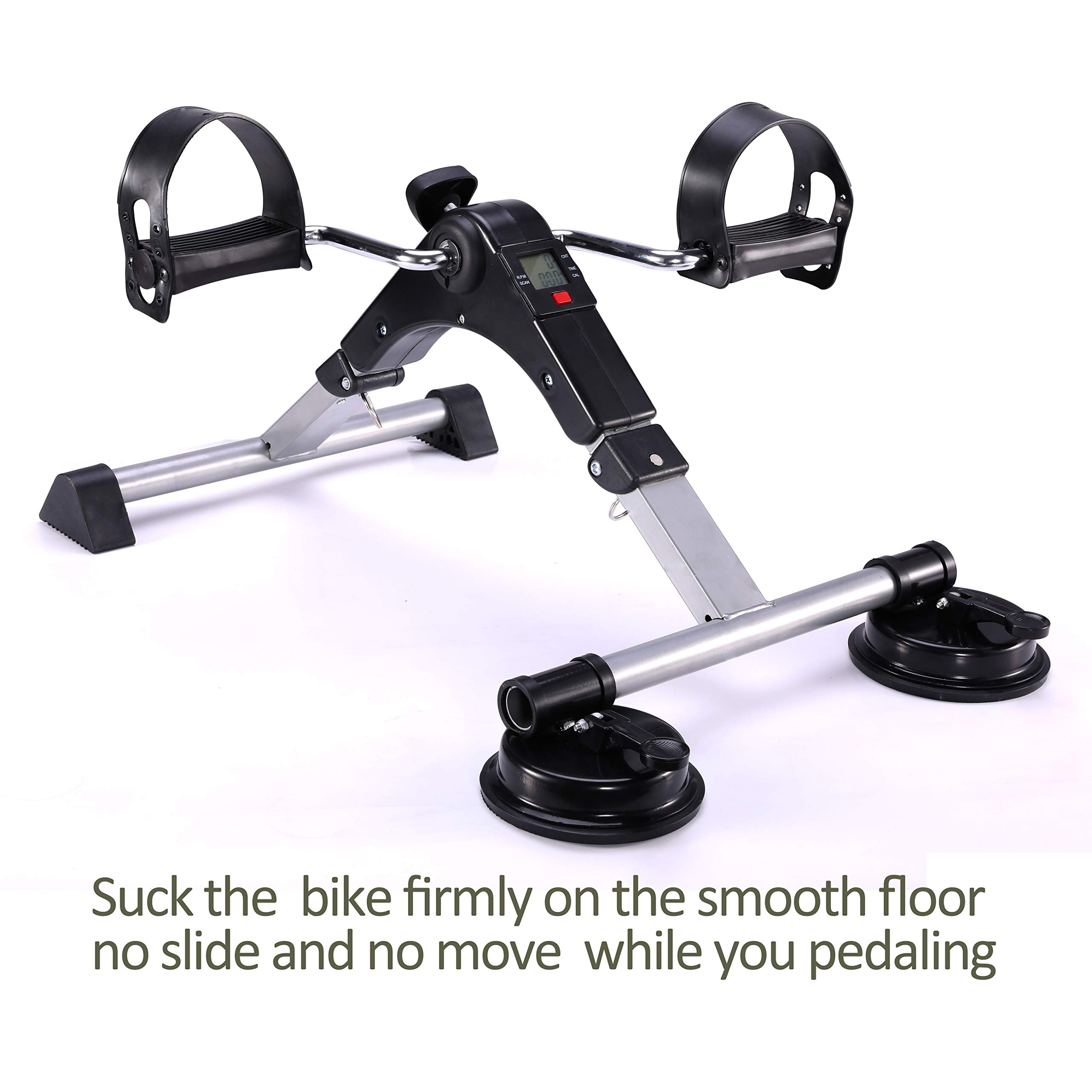 MOMODA Foot Pedal Exerciser Mini Exercise Bike with Suckers Non-Slip(Black/Gray) by MOMODA (Image #2)