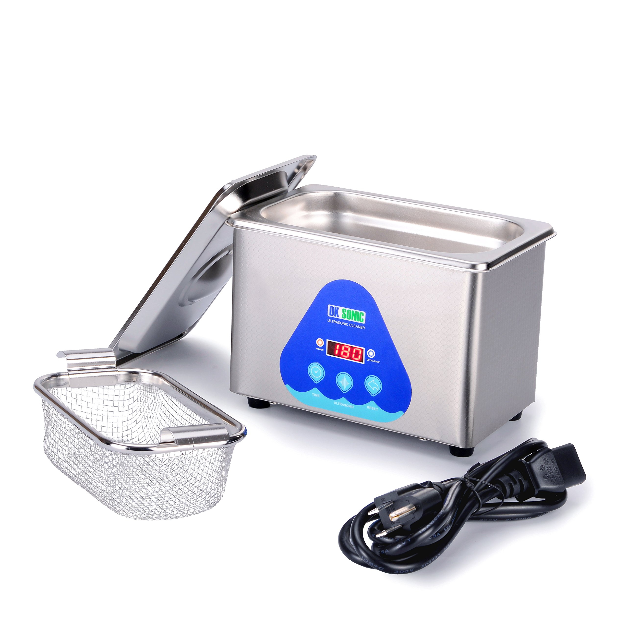 Digital Ultrasonic Jewelry Cleaner - DK SONIC 800ml 42KHz Sonic Eyeglass Cleaner with Digital Timer Basket for Parts Denture Gun Blades Ring Injector Glasses Circuit Board Retainer by DK SONIC