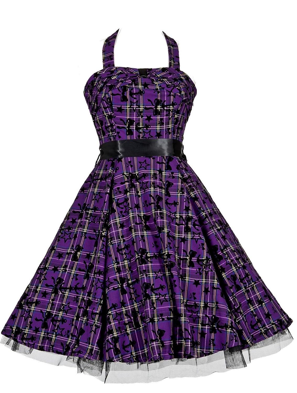 50\'s Vintage Alternative Style Purple Tartan Tattoo Halterneck ...
