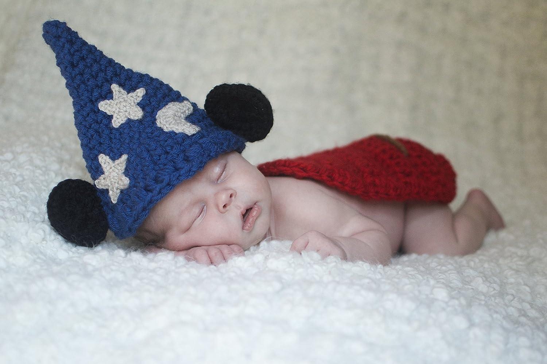 Baby boy hat, baby girl hat, crochet sorcerer mouse, photo prop, baby shower gift, Mickey Mouse, crochet newborn hat, disney nursery