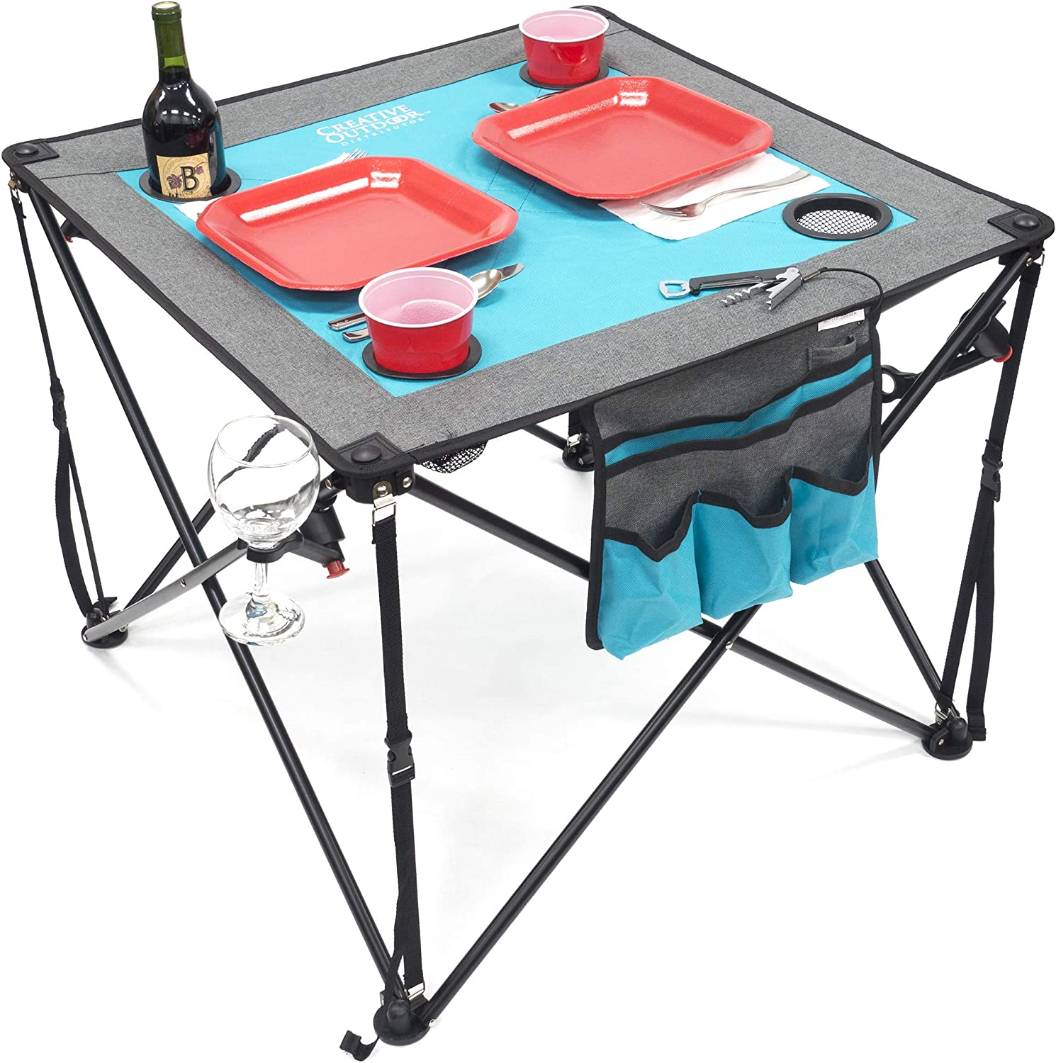 Creative Outdoor Folding Wine Table Portable Camping Beach Picnic Patio Teal Gray