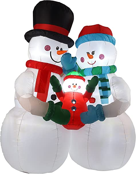 Amazon.com: Familia de 8 ft muñeco de nieve inflable: Jardín ...