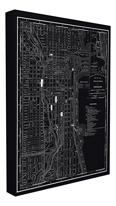 Amazon.com: Stupell Home Décor Chicago 1985 Vintage Map Stretched ...