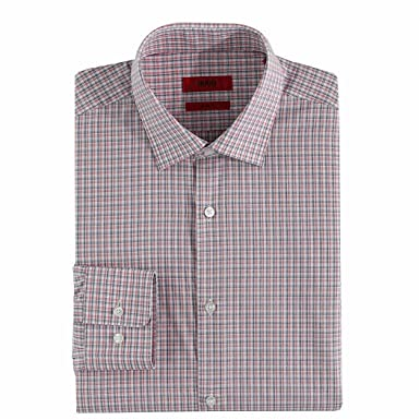 7130f928 Amazon.com: Hugo Boss Mens Red Blue Boxed Sharp Fit Dress Shirt ...