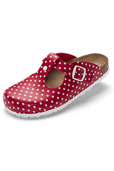 CLINIC DRESS Damen-Clog Rot Gepunktet Polka Dots rot/weiß, Motiv Polka Dots 41
