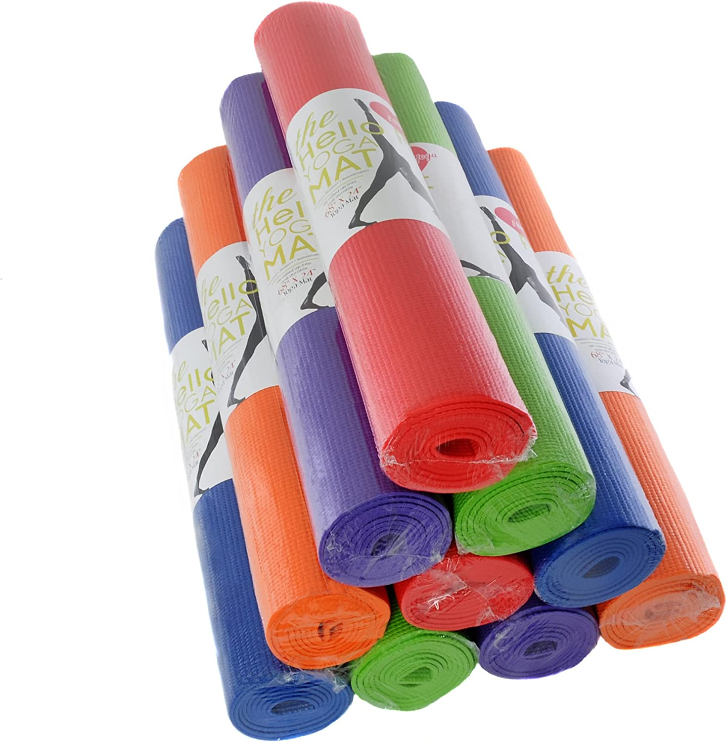 Hello Fit - Kid-Friendly Yoga Mats - Economical 10-Pack - Latex, Heavy Metal and 6P-Free - Non-Slip - Moisture Resistant
