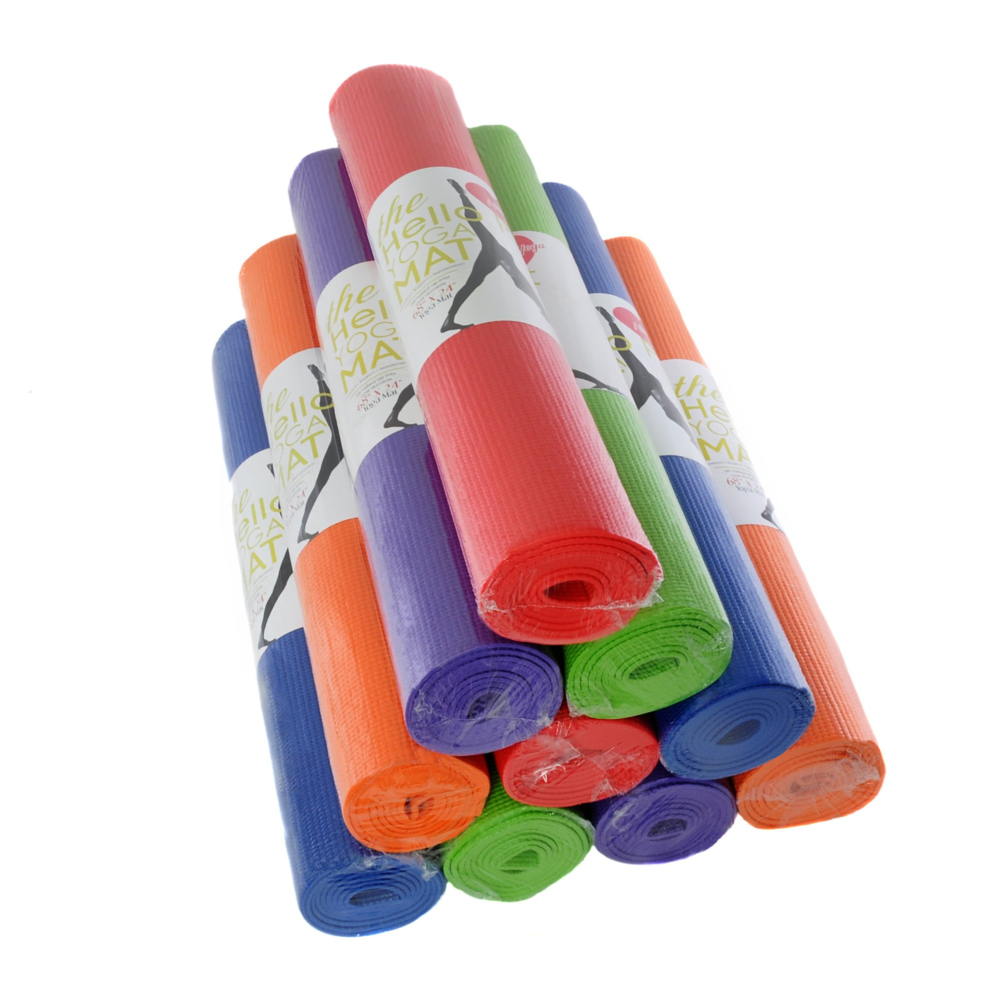Hello Fit Yoga Mats - Budget-Friendly 10-Pack - Non-Slip - Moisture Resistant - Non-Toxic - Durable (Assorted)
