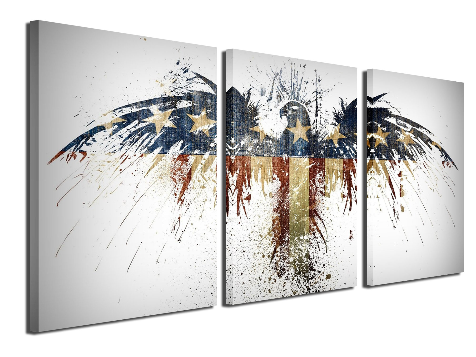 Gardenia Art America Flag with Eagle Canvas Prints Wall Art Paintings Modern Wall Artworks Pictures for Room Decoration, 16x24 inch/piece, 3 Panels, Unframed