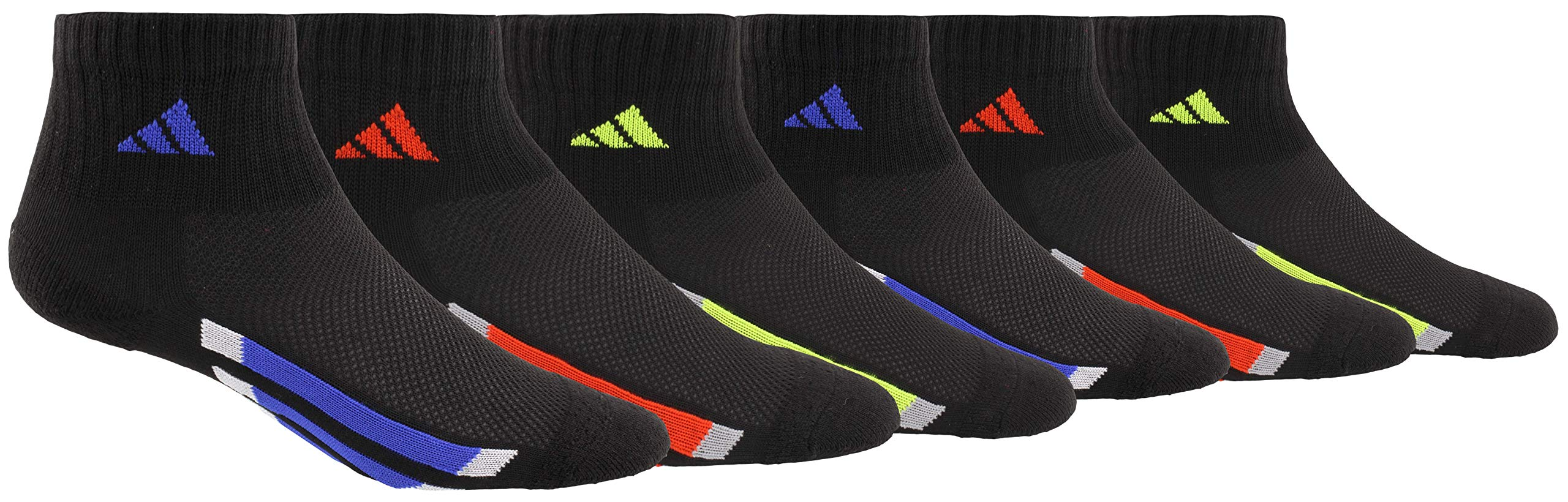 adidas Youth Kids-Boy's/Girl's Cushioned Quarter Socks (6-Pair), Black/Active Blue/Light Onix Black/Active Red/Ligh, Large, (Shoe Size 3Y-9) by adidas