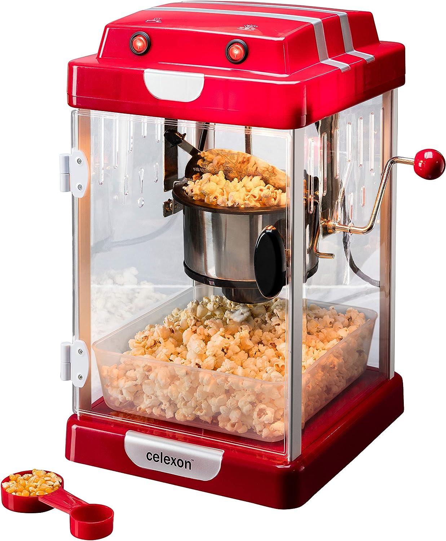 celexon máquina de Palomitas de maíz con Caldera de Acero Inoxidable y un agitador Integrado CinePop CP1000-24,5 x 28 x 43cm - Rojo/Retro/Cine: Amazon.es: Hogar