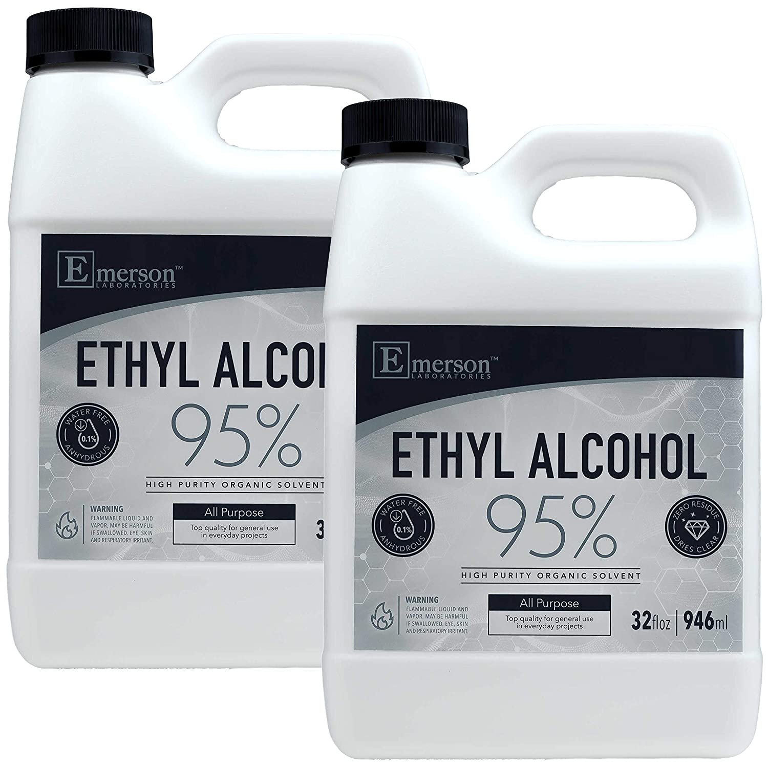 Emerson Labs 95% Ethyl Alcohol (2-32oz Bottles) - 1/2 Gallon Pack of High-Purity Denatured Alcohol Solvent for Home & Professional Use (CDA 12-A 200-Proof Ethanol with n-Heptane) - 64 Ounce
