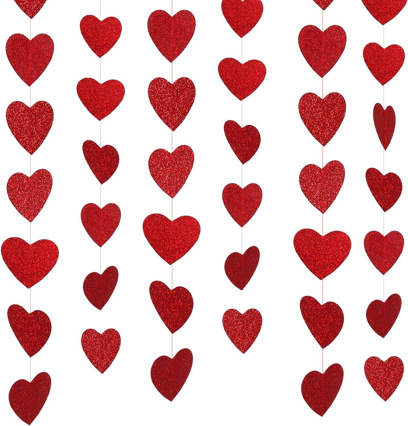 Valentine Day Decor, Konsait Valentine Hearts Decorations Garland(39.37FT, 57Hearts) Glitter Hanging String Valentine Accessories for Valentine's Day,Anniversaries,Wedding Backdrop Bridal Shower Party