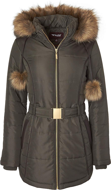 Womens Down Alternative Long Belted Puffer Coat Fur Trim Detachable Hood