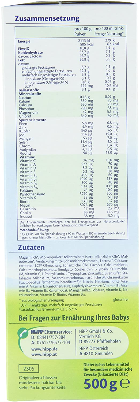 Hipp Orgánico AR Combiotik fórmula anti-reflujo infantil - desde el nacimiento, 4-pack (4 x 500g): Amazon.es: Alimentación y bebidas