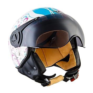 Moto Helmets H44 - Helmet Casco de Moto , Blanco/Flores, S (55