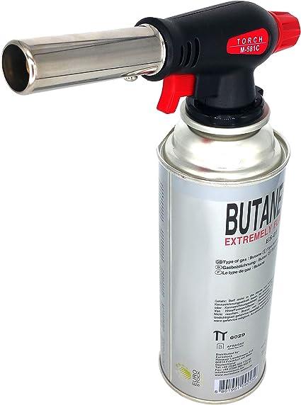Starlet24 Mechero Bunsen, quemador de gas, encendedor de gas, lámpara de soldadura con encendido piezoeléctrico, tamaño de llama ajustable con ...