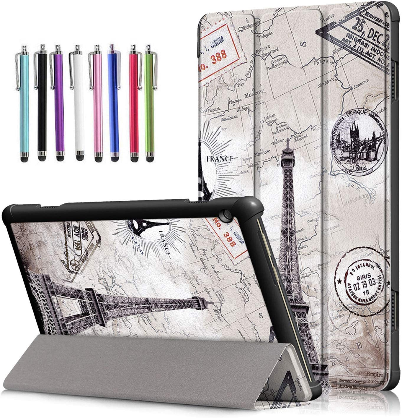 Epicgadget Case for Lenovo Smart Tab M10 TB-X505F/TB-X605F, Slim Lightweight Trifold Shell Stand Cover Case for Lenovo Tablet M10 10.1 Inch Display 2019/2018 Released (Eiffel Tower)