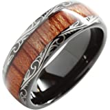100S JEWELRY 8mm Tungsten Carbide Ring Koa Wood Inlay Dome Edge Comfort Fit Wedding Band Size 6-16