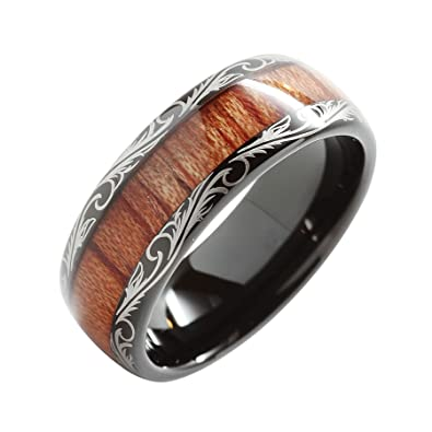 8mm Tungsten Carbide Ring Koa Wood Inlay Dome Edge Comfort Fit