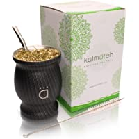 Kalmateh Traditional Double Wall Stainless Steel Yerba Mate Gourd Set - Modern Mate Cup Includes Bombilla (Filter Straw…