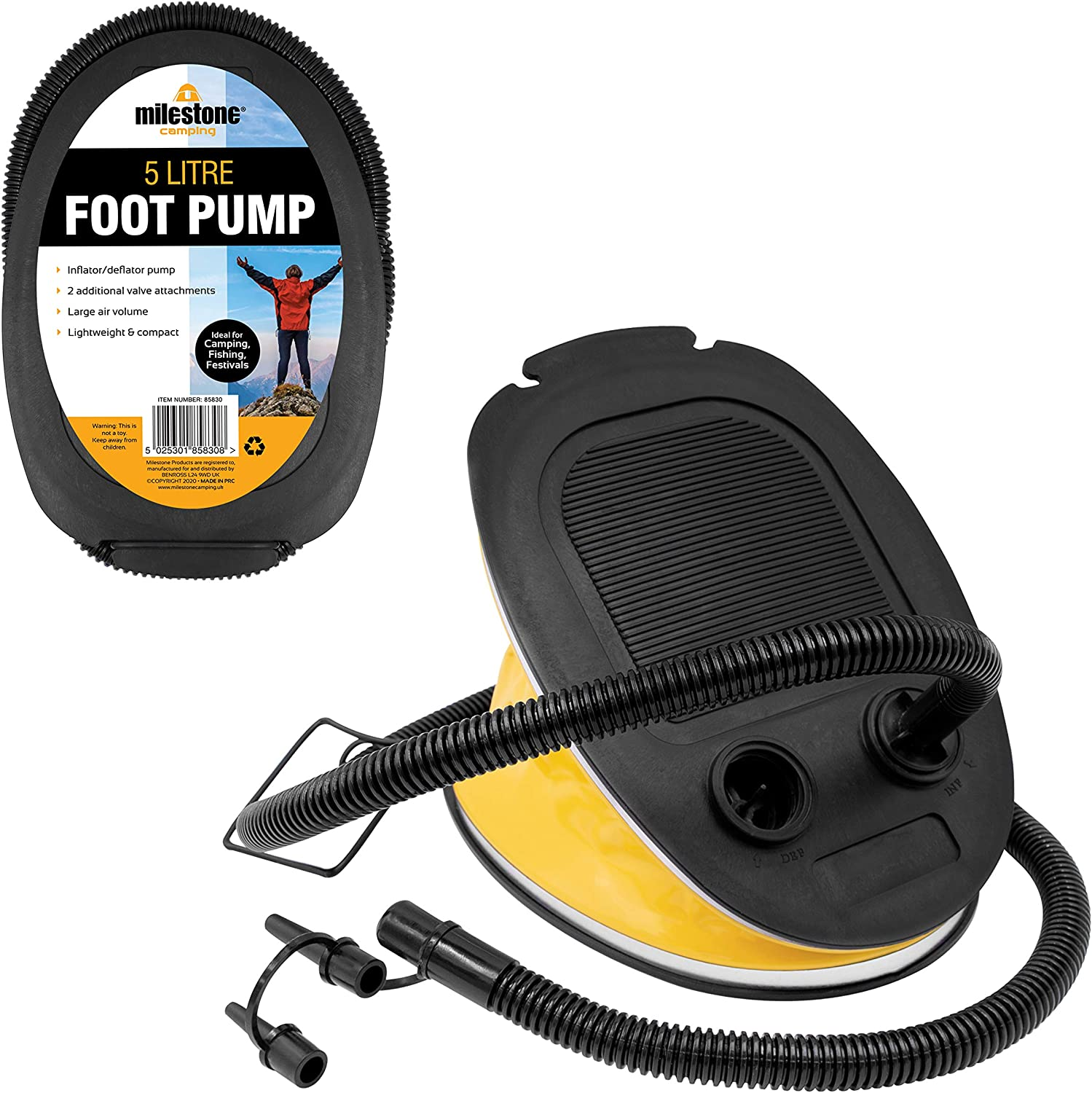Bellows Foot Pump Bed Toy Inflator and Deflator Yellow 3 Litres Per Minute