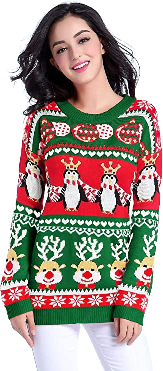 v28 Ugly Christmas Sweater for Women Vintage Funny Ugly Christmas Sweaters for Women