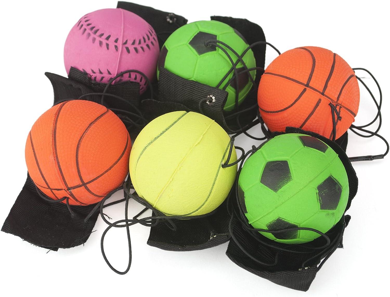 Gogo - Juego de 6 muñequeras con pelota, para botarla, colores variados, ejercicio de muñeca, color 6Pcs, tamaño talla única: Amazon.es: Deportes y aire libre