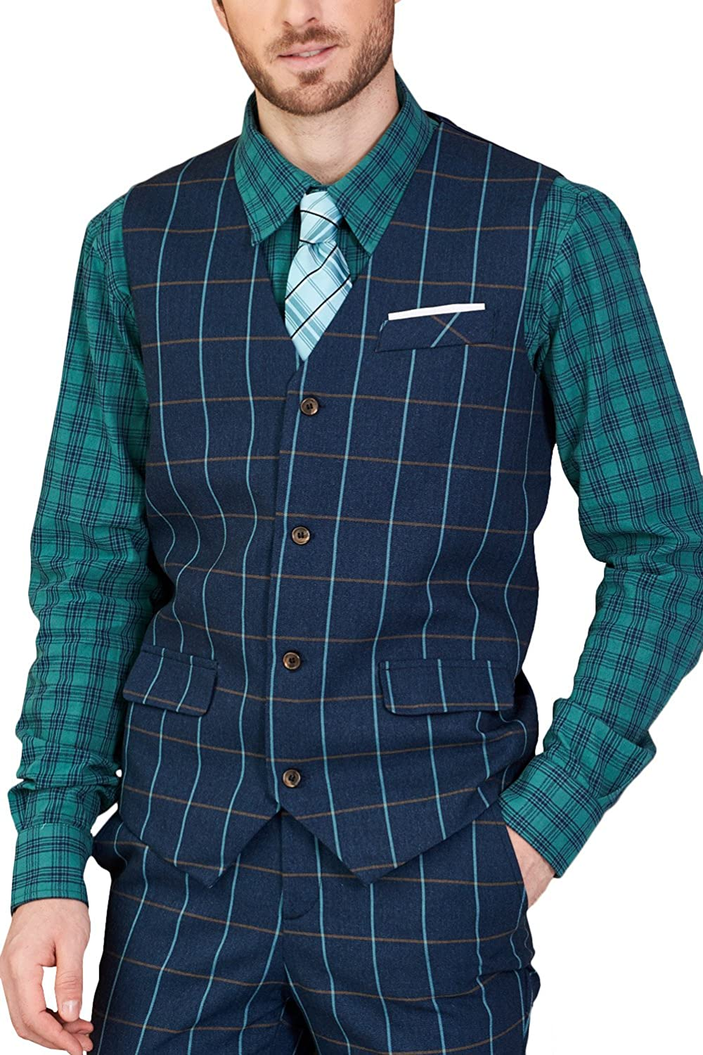 Hanayome Men's Plaid Design V-Neck Business Vest Suit Separate Dress Waistcoat SI110-VS-A1