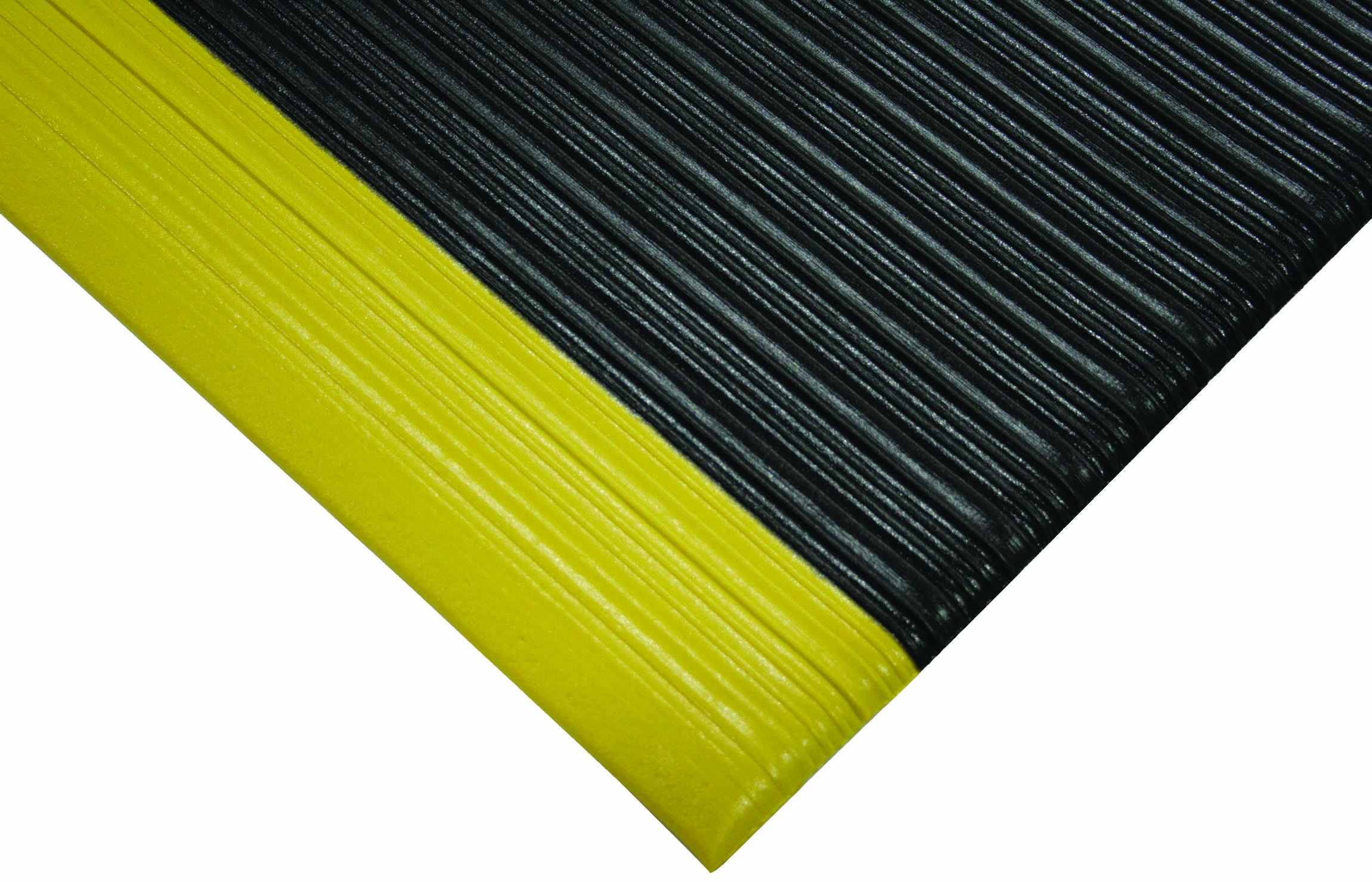 Wearwell PVC 451 Tuf Sponge Light Duty Anti-Fatigue Mat, for Dry Areas, 3' Width x 12' Length x 3/8'' Thickness, Black / Yellow