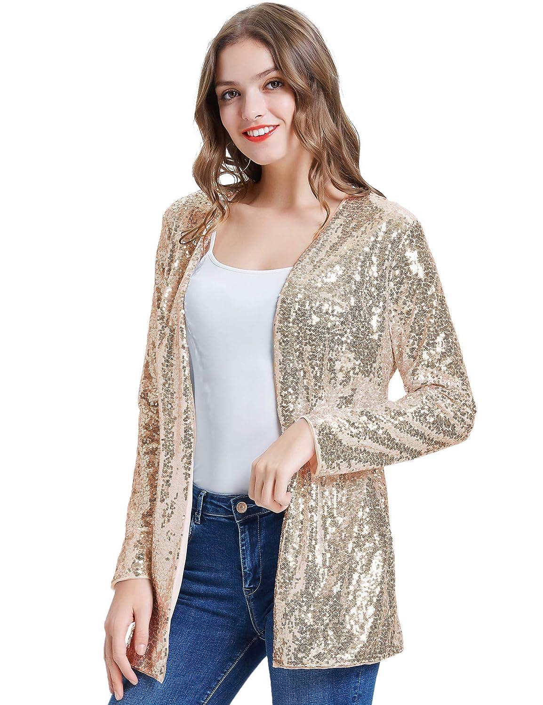 KANCY KOLE Womens Sequin Jacket Open Front Blazer Casual Long Sleeve Cardigan Coat S-XXL