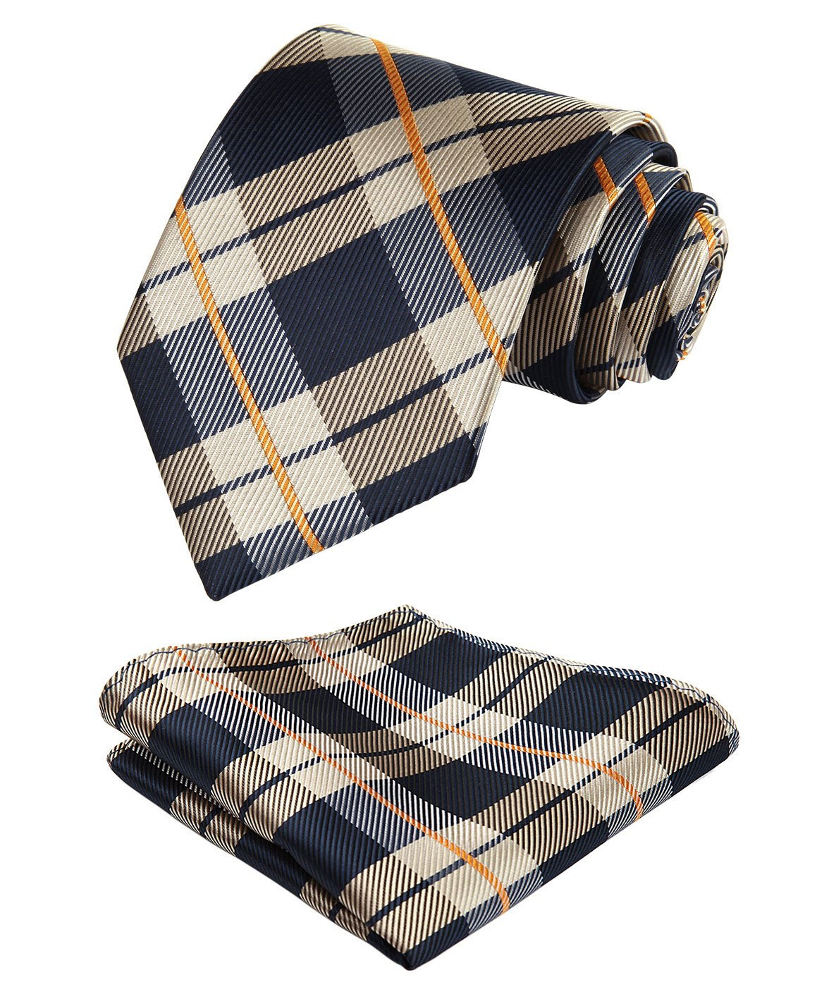4305d698031e HISDERN Extra Long Check Tie Handkerchief Men's Necktie & Pocket Square Set  product image