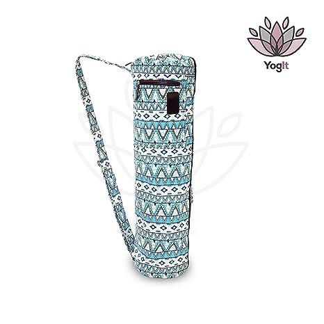 Bolsa para Esterilla de Yoga y Pilates, Diseño Azul geométrico étnico, Loneta Muy Resistente 100% Algodón, Funda Yoga Mat